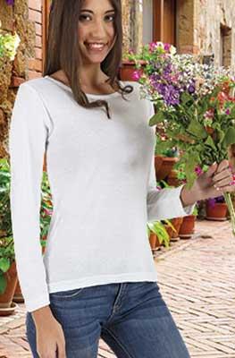 maglietta donna aderente manica lunga